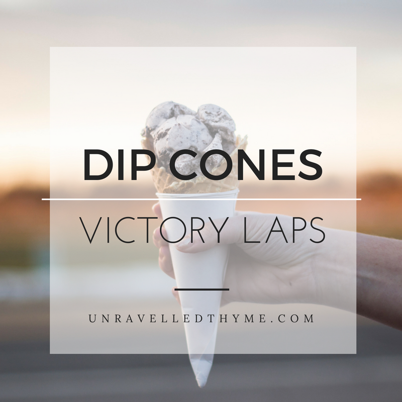 Dip Cones and Victory Laps