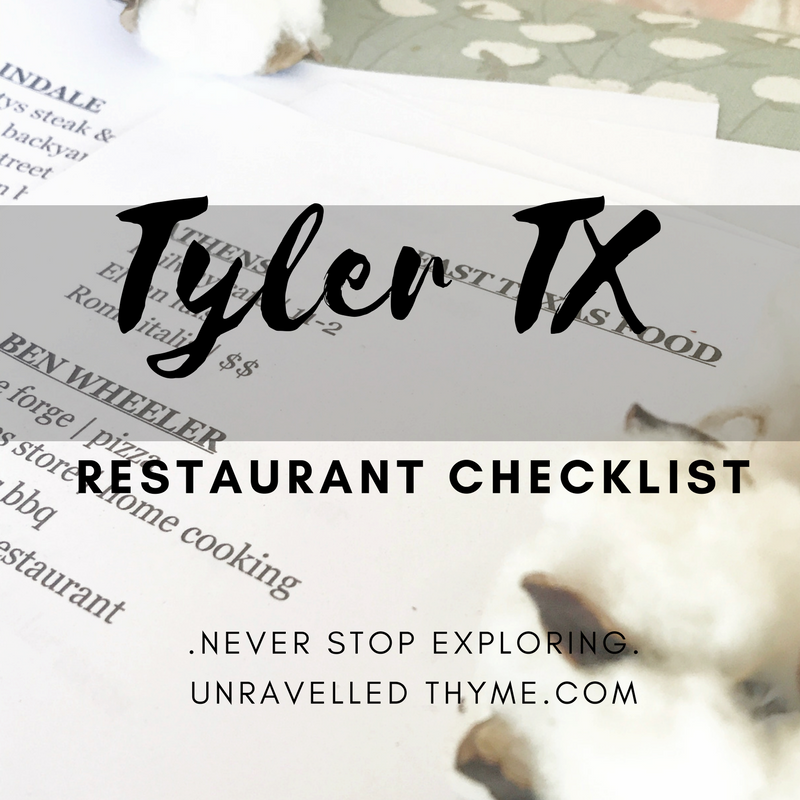 Tyler TX Local Food Checklist